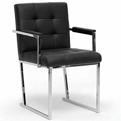 Baxton Studio Collins Mid-Century Modern Accent Chair, Black