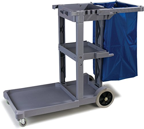 Carlisle JC1945L23 Polyethylene Long Platform Janitorial Cart, 300 lbs Capacity, 49'' Length x 19'' Width 39'' Height, Gray by Carlisle