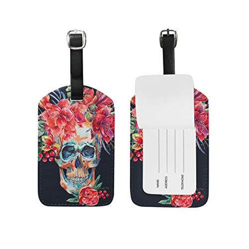 Set Amaryllis Red - Nfuquyamluggage Luggage Tags With Full Back Privacy Cover - Watercolor Skull With Red Flower Amaryllis Baggage Suitcase Labels Bag Travel Accessories PU Leather Set Of 2