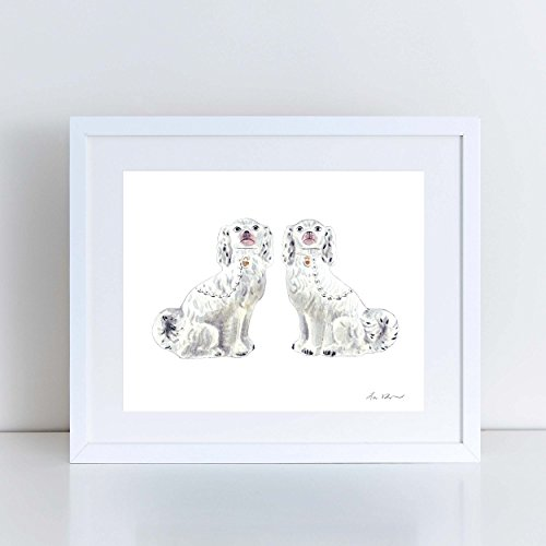 Water Spaniel Dog Art (Staffordshire Dogs Art Spaniel Art Print Porcelain Chinoiserie Art Ginger Jar Art Dog Art Print Dog Sculpture Preppy Art Print Neutral Art Canvas Art Print Watercolor Painting)