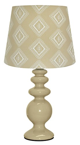 Urban Shop Porcelain Lamp with Zuni Lamp Shade with CFL Bulb, Taupe