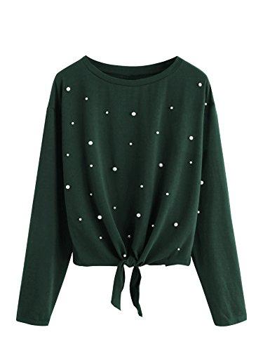 ROMWE Women's Pearl Beaded Knot Front Long Sleeve T Shirts Top Green Medium