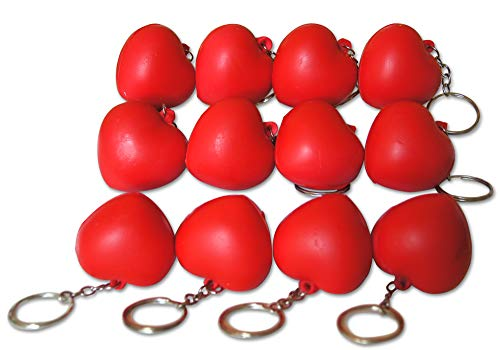 (Novel Merk Red Heart 12-Piece Keychains for Party Favors & School Carnival Prizes)