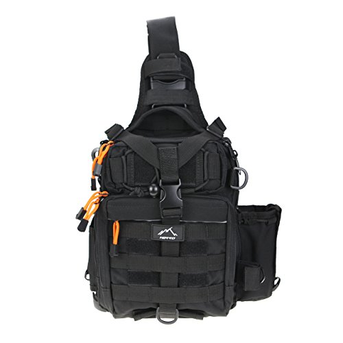(Hetto Tactical Sling Chest Pack MOLLE-Polyester Waterproof One Strap Crossbody Backpack-Military Shoulder Bag with Water Bottle for Cycling Running Hiking Climbing Fishing Outdoor)