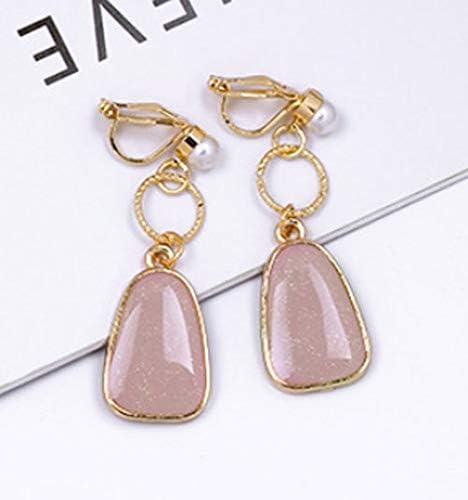 Clip on Earrings Pink Teardrop Drop Dangle Earring Faux Pearl Beads Women Girl Gold Fashion non Piecred