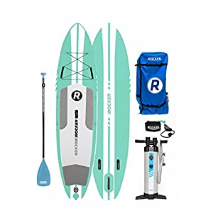 "iROCKER ALL-AROUND Inflatable Stand Up Paddle Board 11' Long 32"" Wide 6"" Thick SUP Package (SeaFoam Green 2018)"