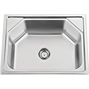 Silverline Stainless Steel Pearl Finish Kitchen Sink with Strainer (24″x18″x9″, Silver)