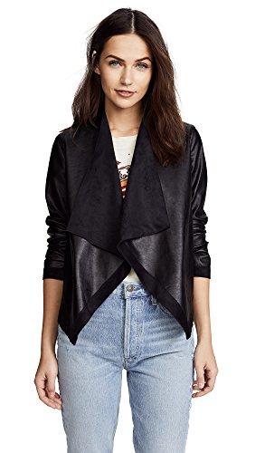 BB Dakota Junior's Teagan Reversible Drape Front Jacket, Black, Medium (Leather Reversible Jacket)