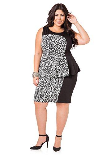 Ashley Stewart Women s Plus Size Textured Leopard Print Peplum Dress ... 6157307ec