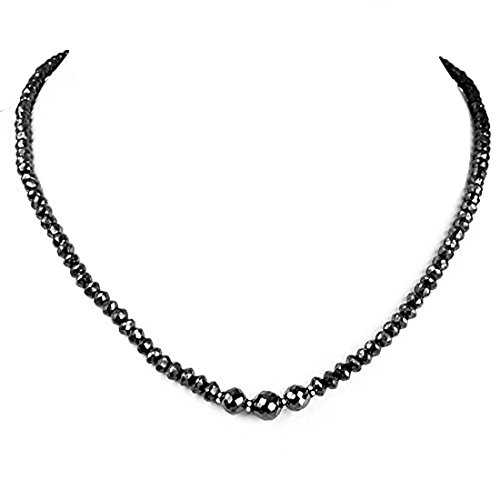 Barishh 5mm Black Diamond Faceted Beads Necklace 100 Cts. AAA Certified by Barishh