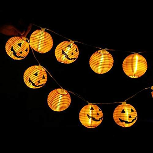 NIOSTA Halloween Jack Pumpkin Lantern String Lights,10 Smiling Jack Face Paper Lantern 9 Ft,Indoor/Outdoor Plug in- Weather Resistant]()
