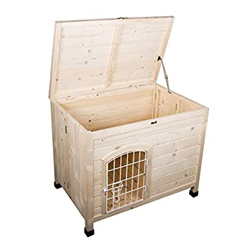 Image of Friday discount Pet Dog House Indoor 3 Steps Assembly Natural Wooden Cabin Kennel Cat Puppy Room with Openable Top & Removable Bottom, Adjustable Foot and Wire Door Pet Supplies
