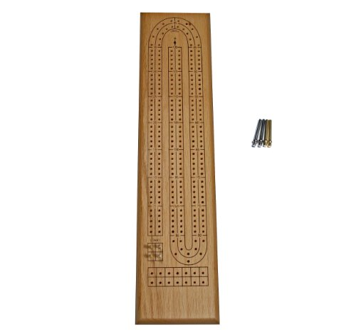 Board Cribbage Oak - WE Games Classic Cribbage Set - Solid Oak Wood Continuous 2 Track Board with Metal Pegs