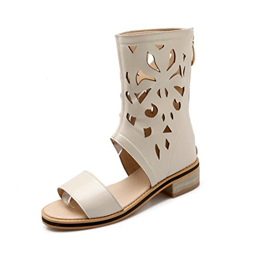 Women Knee High Open Toe Hollow Out Slip On Wrap Gladiator Beige Sandal Bootie 11.5 B (M) US