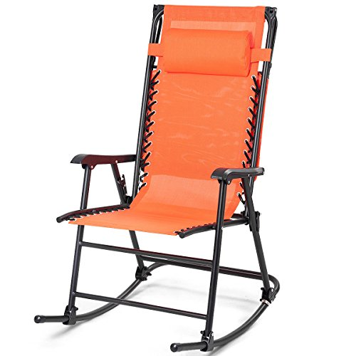 Folding Zero Gravity Rocking Chair Sunshade Canopy Orange Fabric Rocker With Armrest Backyard Patio Lawn Deck Outdoor Garden Pool Side Furniture Comfortable Headrest Glider Porch Seat by Almacén