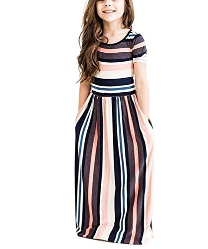 Fashspo Girl's Short Sleeve Striped Print Loose Casual Holiday Long Maxi Dress with Pockets Stripe Pink 7-8T