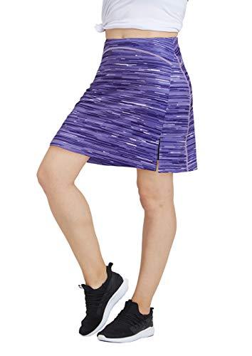 Women Print Golf Skirt Travel Skirts with Pockets Swim Skirt High Waist with Shorts Purple P XL