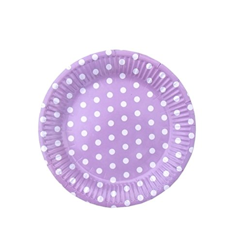 SOCOSY Colorful Polka Dot Round Paper Plates Disposable Plates Paper Dessert Plates Snack Plate for Party Birthday Wedding Catering - Pink Paper Dessert 7' Plates