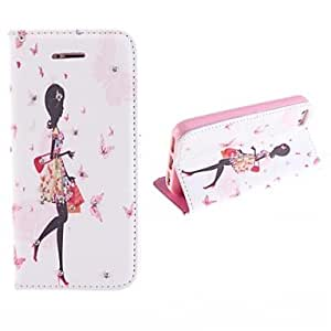 Mini - Girl Walking Stick Drill Design PU Full Body Case with Card Slot and Stand for iPhone 5/5S