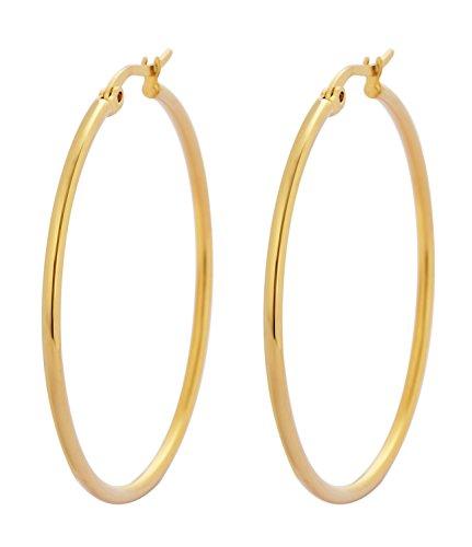 Edforce 18k Gold Plated Stainless Steel Rounded Hoops Earrings (40mm Diameter)