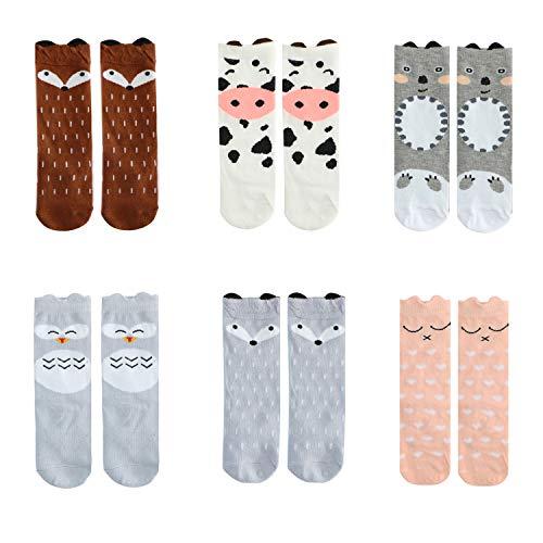 Bestjybt Baby Socks Infant Kids Toddler Socks Knee High Socks Animal Stockings, 6 Pairs (Style 01, 0-12 months) ()