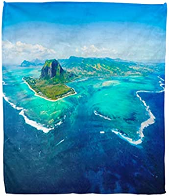 Amazon com: Golee Throw Blanket Aerial View of Mauritius