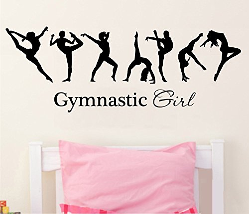 Gymnastics Decals - YOYOYU ART HOME DECOR Removable Vinyl Wall Decal Stickers Gymnastics Girl Sign Ballet Dancer Yoga Dacing wall decal home decoration KW-336 (BLACK)