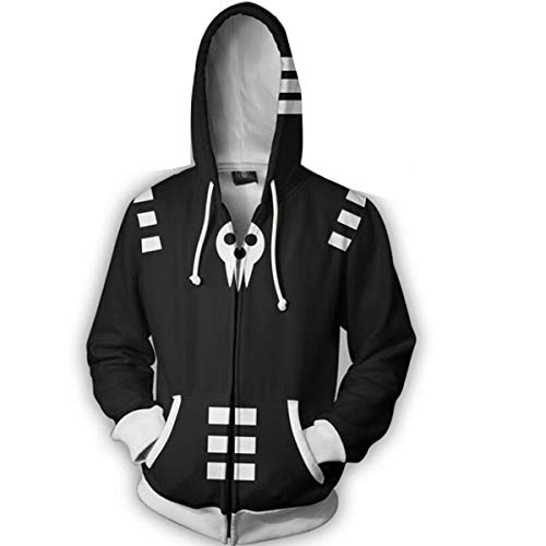 NSOKing Hot Anime Soul Eater Death The Kid Cosplay Costumes 3D Printed Sports Jacket Hoodie (X-Large, -