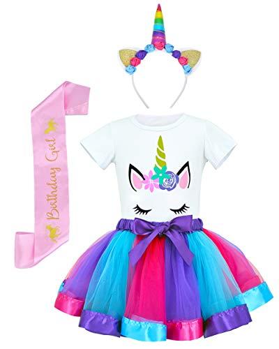 JiaDuo Girls Costume Rainbow Tutu Skirt with Unicorn Shirt, Headband & Satin Sash Deep Purple M]()