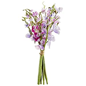 "17"" Sweet Pea Silk Flower Stem Bundle -Lavender/Boysenberry (Pack of 6) 10"