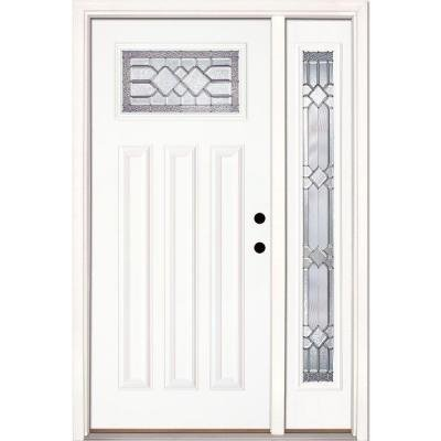 Mission Pointe Zinc Craftsman Lite Unfinished Smooth Fiberglass Entry Door with Sidelite