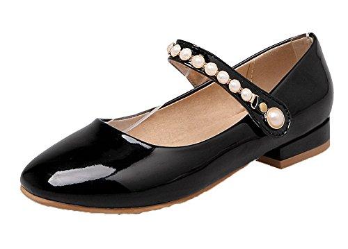 Amoonyfashion Femmes Solides Pu Bas-talons Chaussures À Bout Ouvert Boucles-à-boucle-chaussures Noir