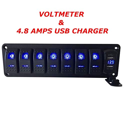 (Switchtec 2 3 5 7 Gang Rocker Switch Aluminum Panel with 4.8 Amps Dual USB Fast Charger with Voltmeter, Blue Backlit Led, Pre-Wired for Marine, Boat, Car, Truck (4.8A USB & 7 Switches Blue))
