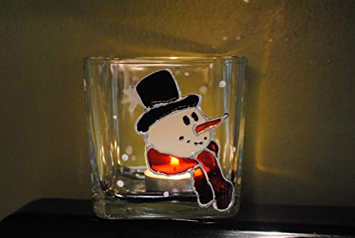 Snowman Hand Painted Stained Glass Square Candle Holder, Christmas Winter Holiday Decor