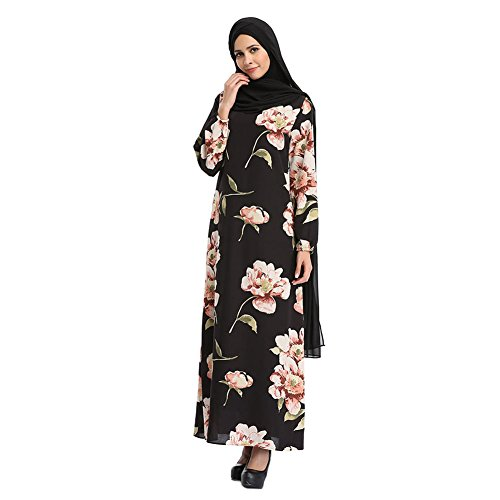 Hzjundasi Malaysia Bohemia Style Kaftan Flowers Chiffon Maxi Dress Long Sleeve Abaya Islamic Evening Gown Muslim Cocktail Dubai Turkish Robe: Amazon.co.uk: ...