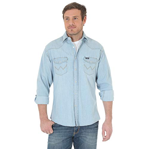 Wrangler Men's Western Work Shirt Washed Finish, Medium Bleach, X-Large ()