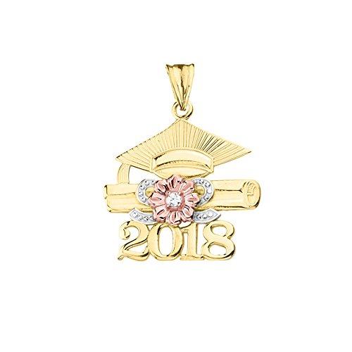 Dazzling 10k Tri-Tone Yellow Gold Diamond Class of 2018 Graduation Charm Pendant ()