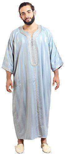 Moroccan Men Caftan Handmade Gandoura Cotton Blend Delicate Embroidery Grey by Moroccan Men Clothing