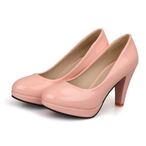 Pink Closed Pumps Round Women's Leather Heel Toe High WeiPoot Platform Patent vgqAxw