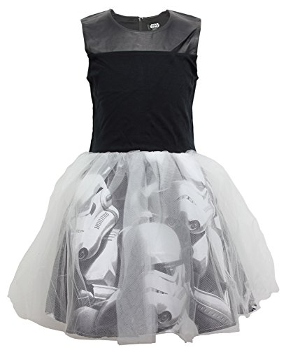 [Disney Star Wars Tulle Girls Stormtrooper Tutu Dress Costume Black White Medium] (Luke Skywalker Costume Black Kids)