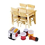 Diy Modern Coffee Table Fenteer 1/12 Dollhouse Modern Kitchen Furniture Wooden Dining Table with Bread, Coffee Jams