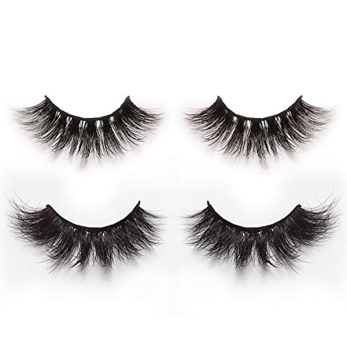 - Alluring 3D & 4D Mink Fur False Eyelashes Pack of 2 Pairs,100% Natural Soft Curl Genuine Siberian Mink Hair Hand-made Luxury Fashion Fake Lashes in Premium Box Package with Mirror & Tweezer