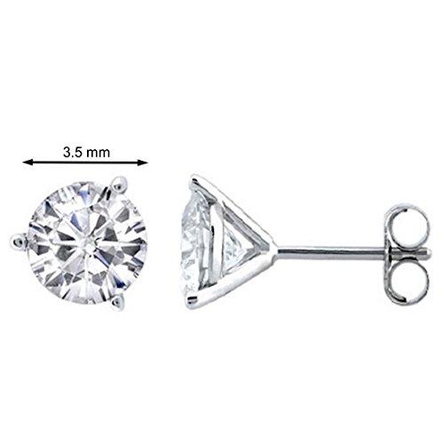 0.33 CTW Round White Diamond Martini Stud Earrings in 14K White (Diamond Martini Stud)