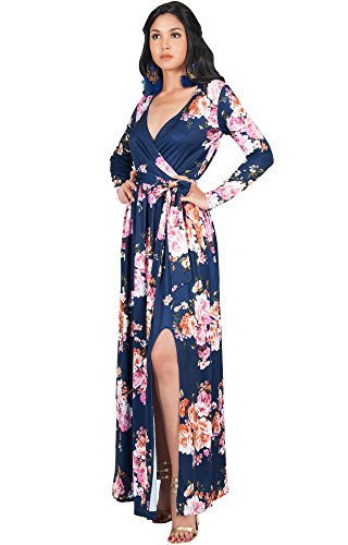 KOH KOH Womens Long Sleeve Floral Flower Print V-Neck Slit Split Cute Cocktail Evening Winter Fall Wedding Guest Sexy Party Casual Gown Gowns Maxi Dress Dresses, Dark Navy Blue L 12-14