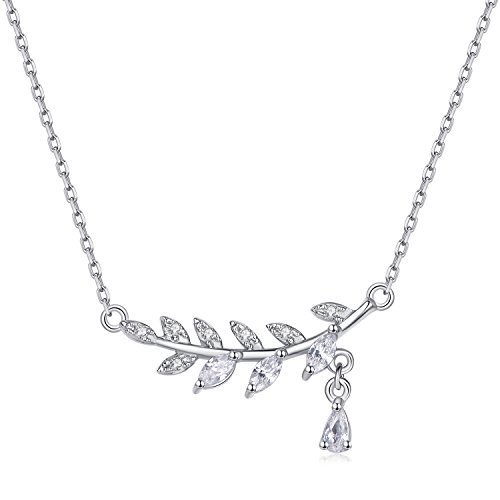 It's a circle Sterling Silver Olive Leaf Branch Vine Raindrop Pendant Cubic Zirconia CZ Necklace Gift