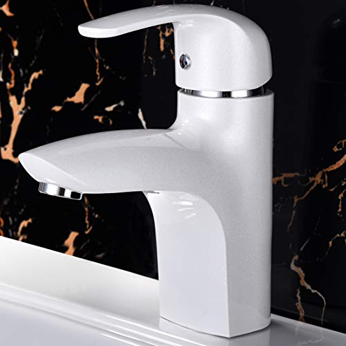 Bathroom Faucet Bar Sink Faucets Mixer Tap with Hot and Cold Water Supply Hose, Single Handle Single Hole (Elegant white) (Standard) by LEMENG