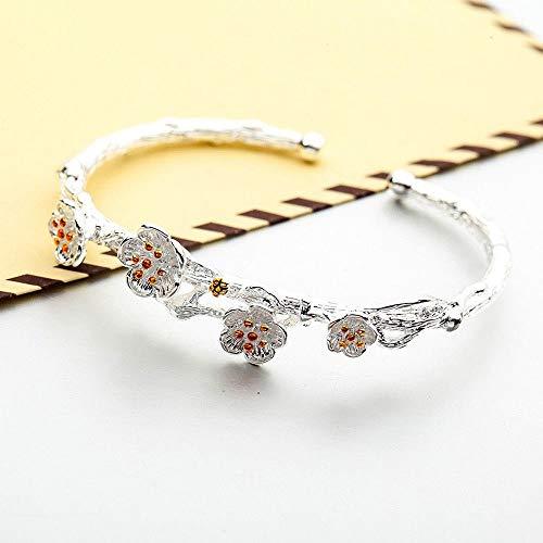 - Plum Trendy Flower Adjustable Bracelets Elegant Blossom Open Charm Bangles