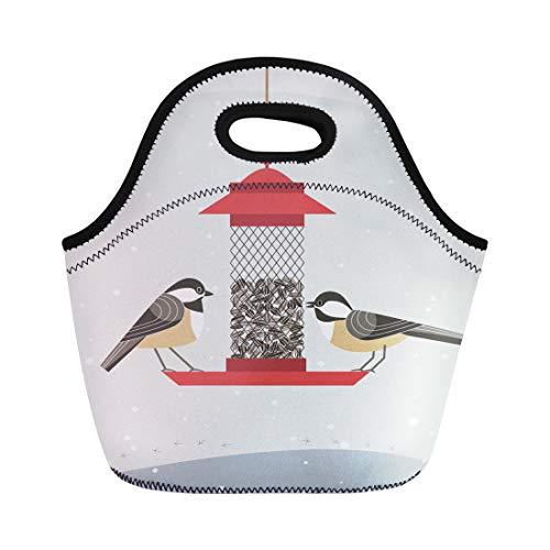 Semtomn Lunch Bags Cute Black Capped Chickadee Bird Comic Flat Cartoon Minimalism Neoprene Lunch Bag Lunchbox Tote Bag Portable Picnic Bag Cooler Bag