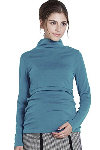 329b281c33951 Sweet Mommy Fleece Lined Maternity and Nursing Turtleneck Top Turquoise, L