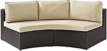 Crosley Furniture Catalina Outdoor Wicker Round Sectional Sofa with Sand Cushions – Brown